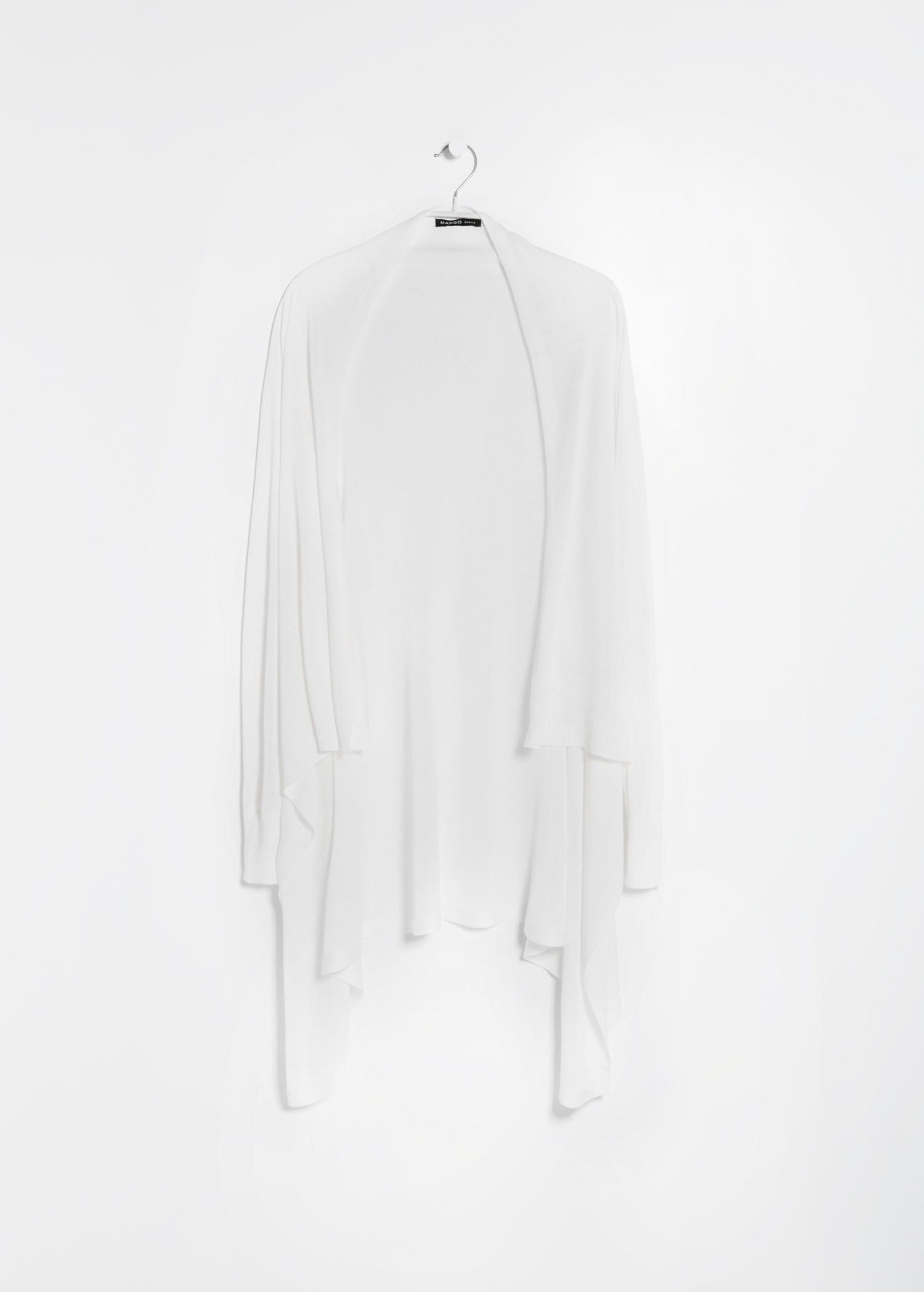Mango Waterfall Cardigan in White | Lyst