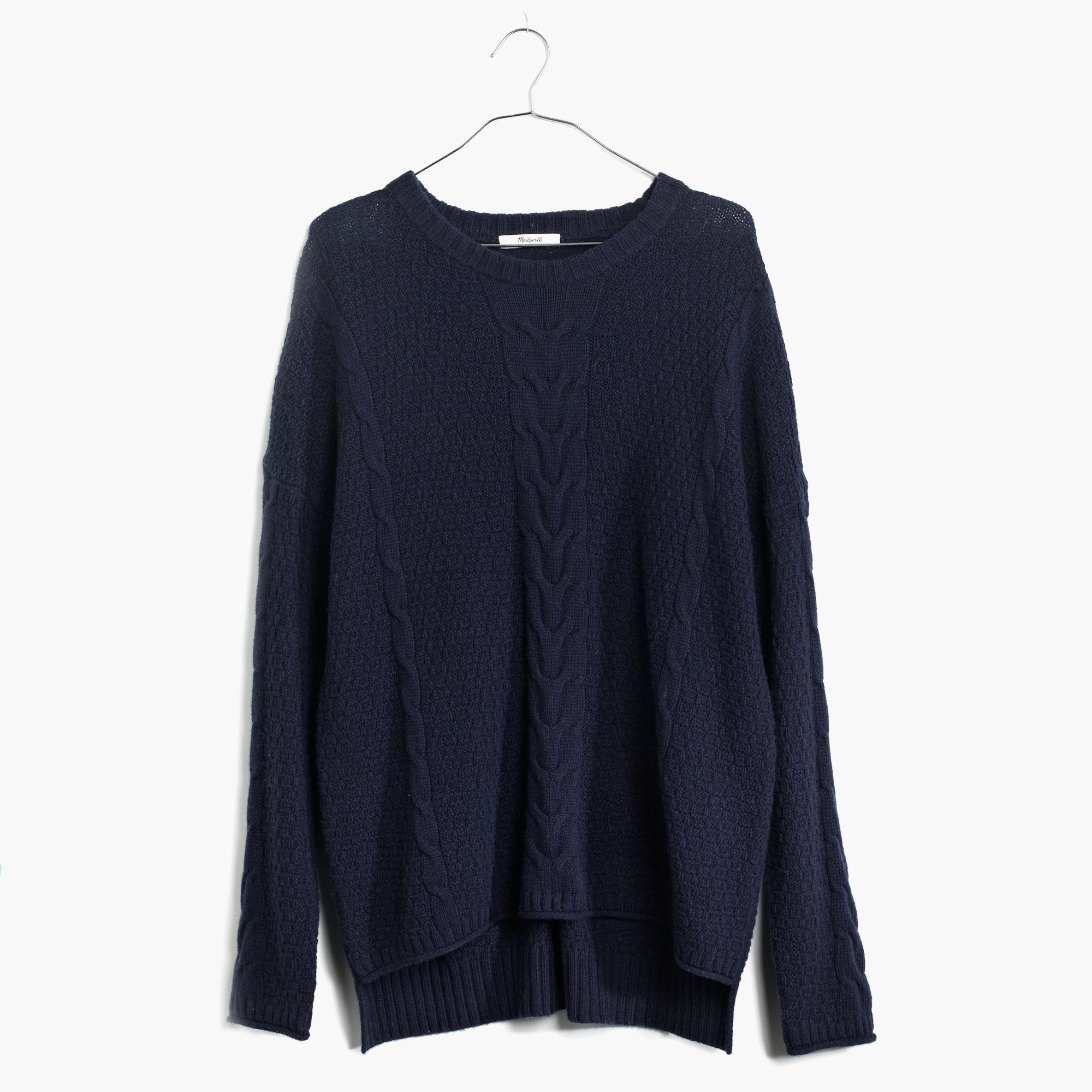 Madewell Easy Cable Pullover Sweater in Blue | Lyst