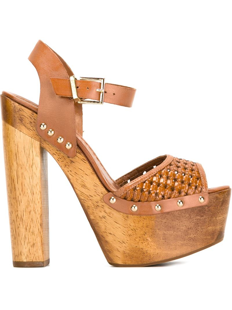schutz platform sandals in brown save 50 lyst
