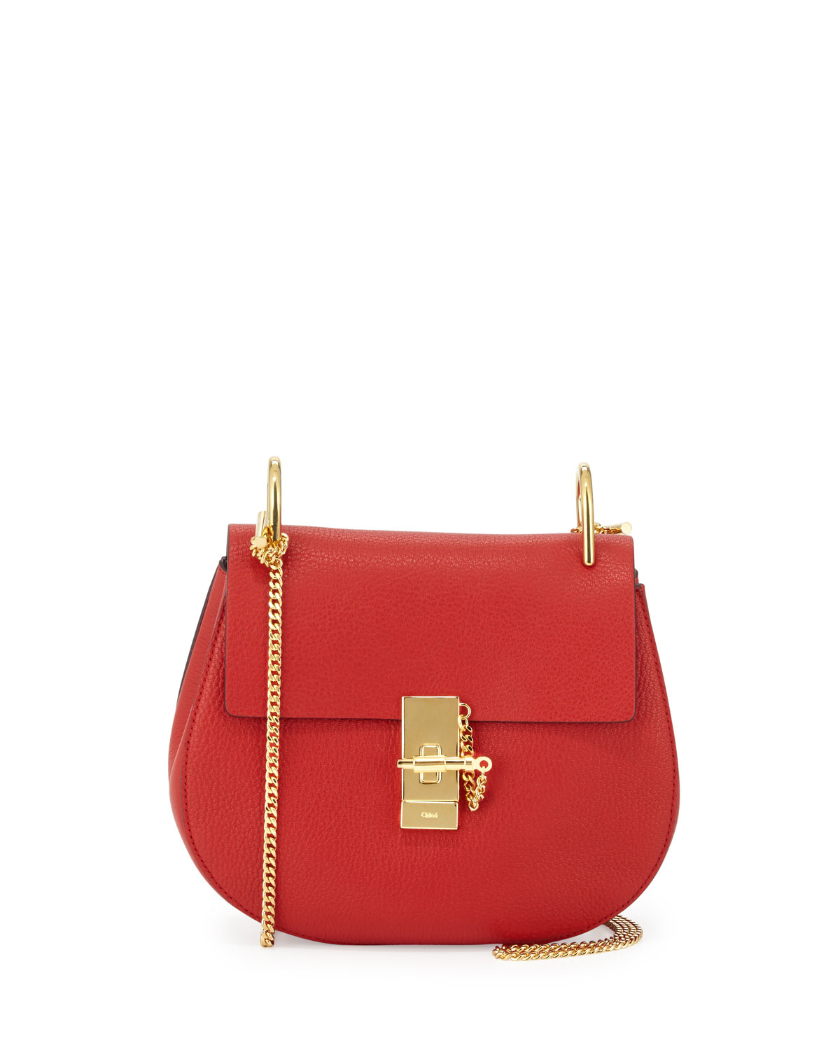cbffa128514af Chloé Drew Small Chain Saddle Bag in Red - Lyst