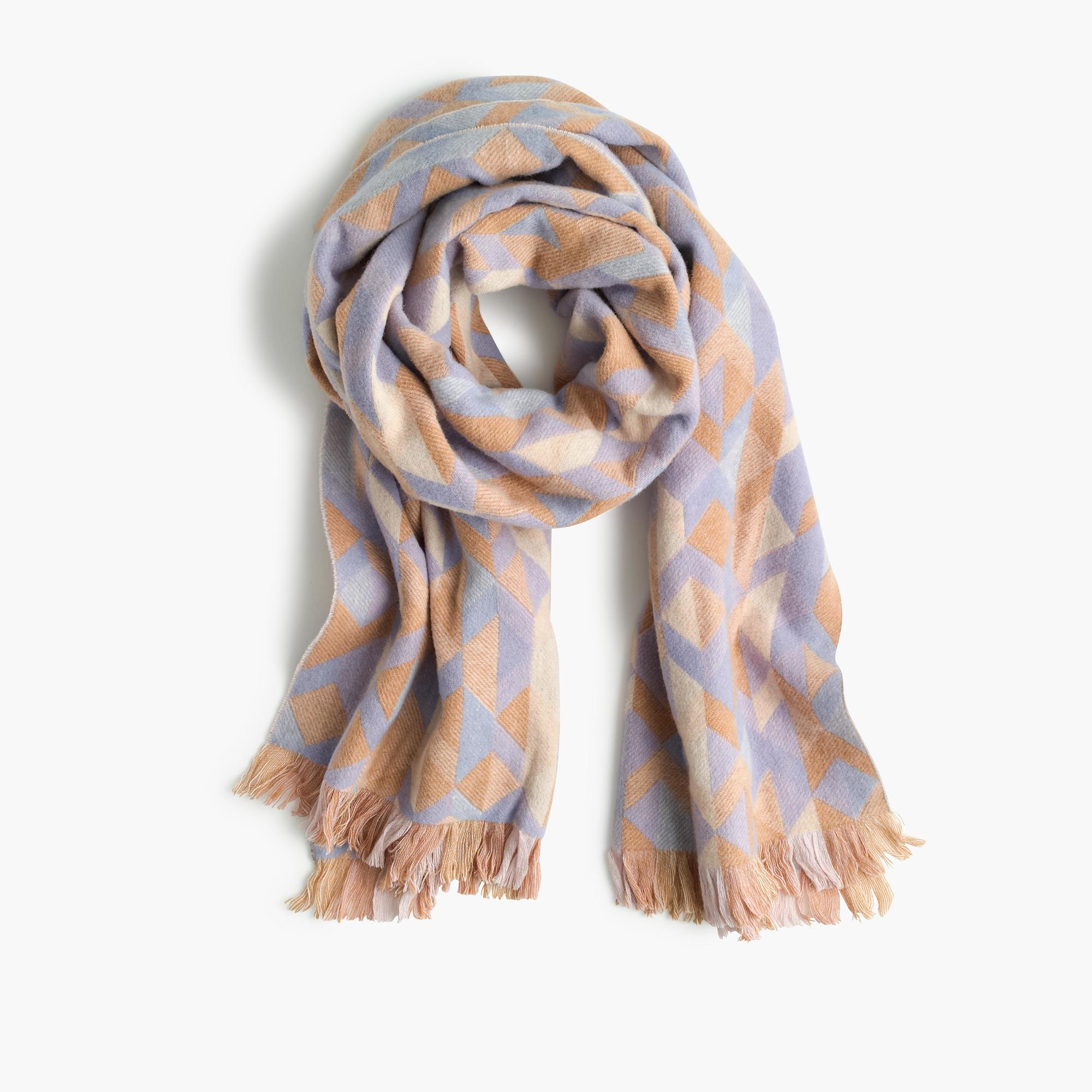j crew woven geometric scarf in pink lyst