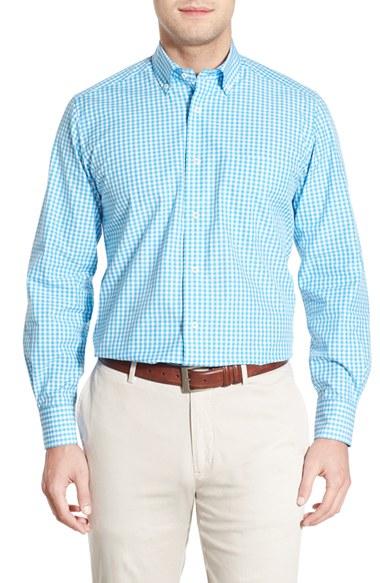 David Donahue Regular Fit Gingham Sport Shirt In Blue For