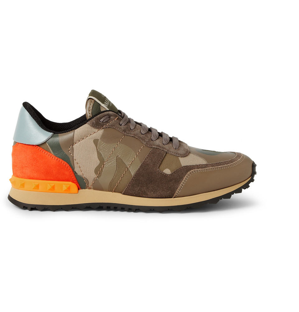valentino camouflage printed leather and canvas sneakers in green for men lyst. Black Bedroom Furniture Sets. Home Design Ideas