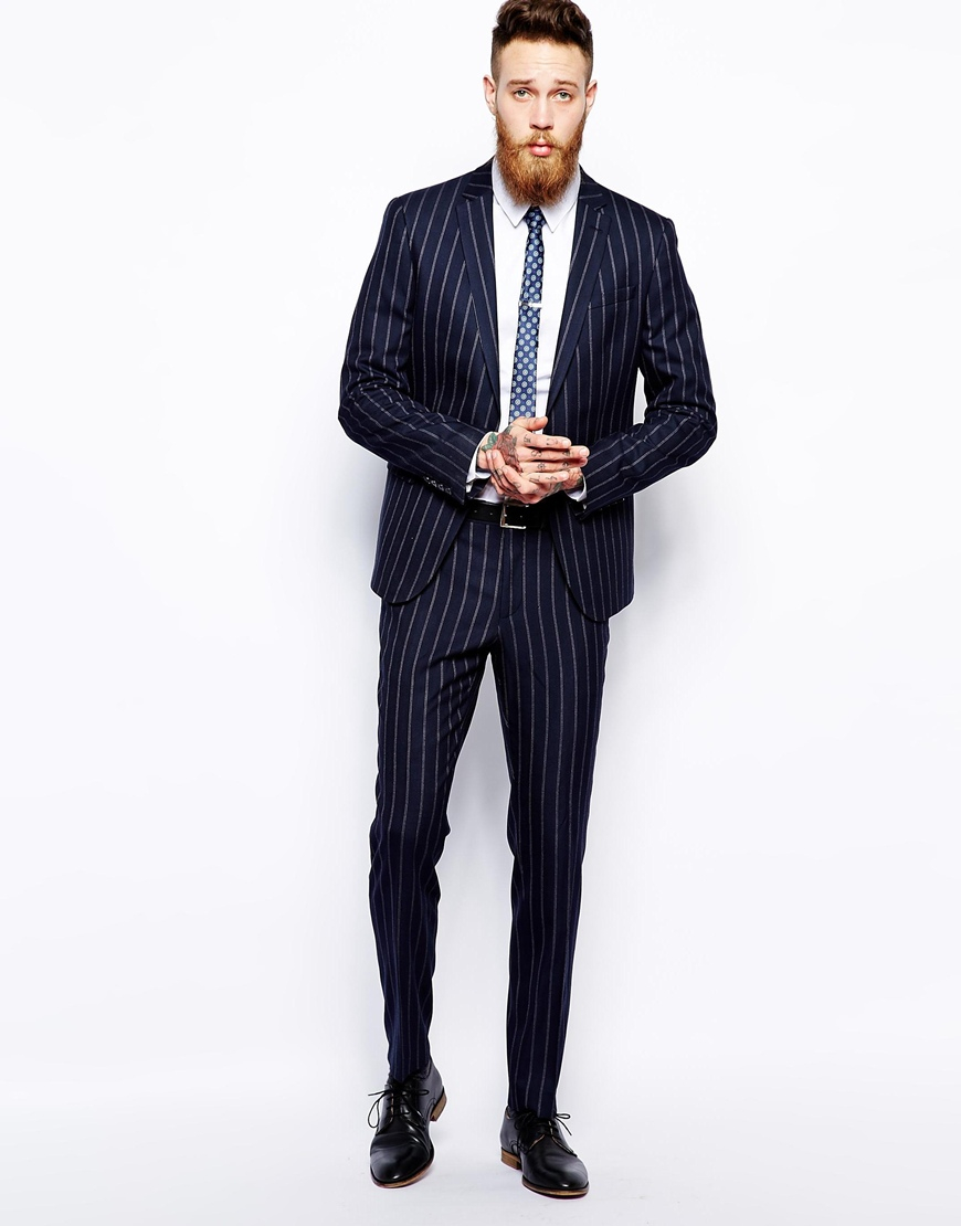 Asos Skinny Fit Suit Trousers In Fine Stripe In Blue For