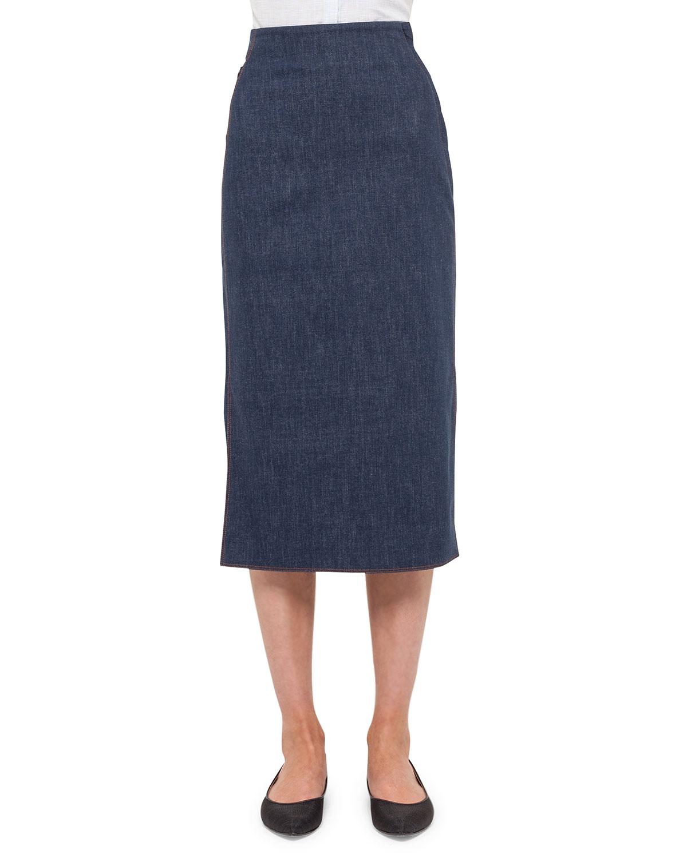 akris denim pencil skirt in blue denim lyst