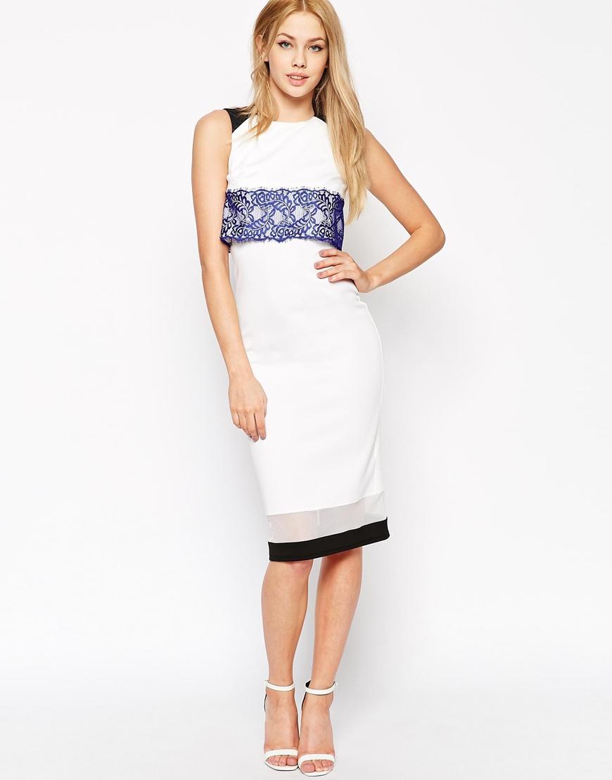 White lace bodycon dress asos