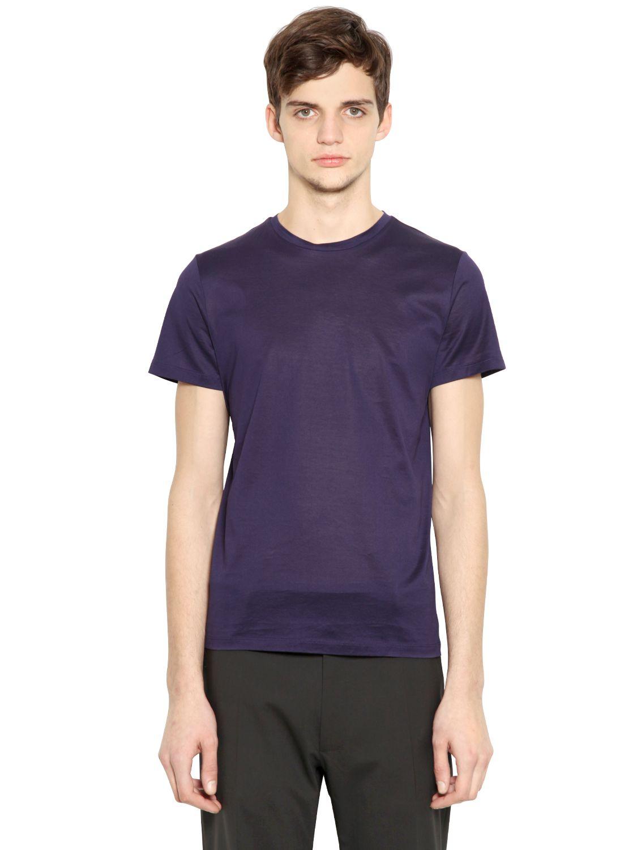 Jil sander mercerized cotton t shirt in purple for men lyst for Jil sander mens shirt