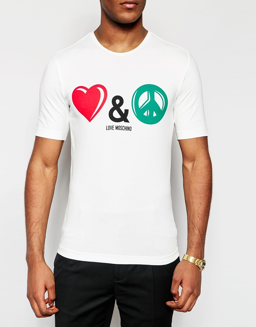 love moschino t shirt with love peace logo in white for. Black Bedroom Furniture Sets. Home Design Ideas