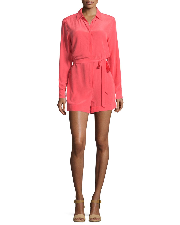9245e16c0e5 Lyst - Equipment Earl Long-sleeve Short Silk Jumpsuit in Red