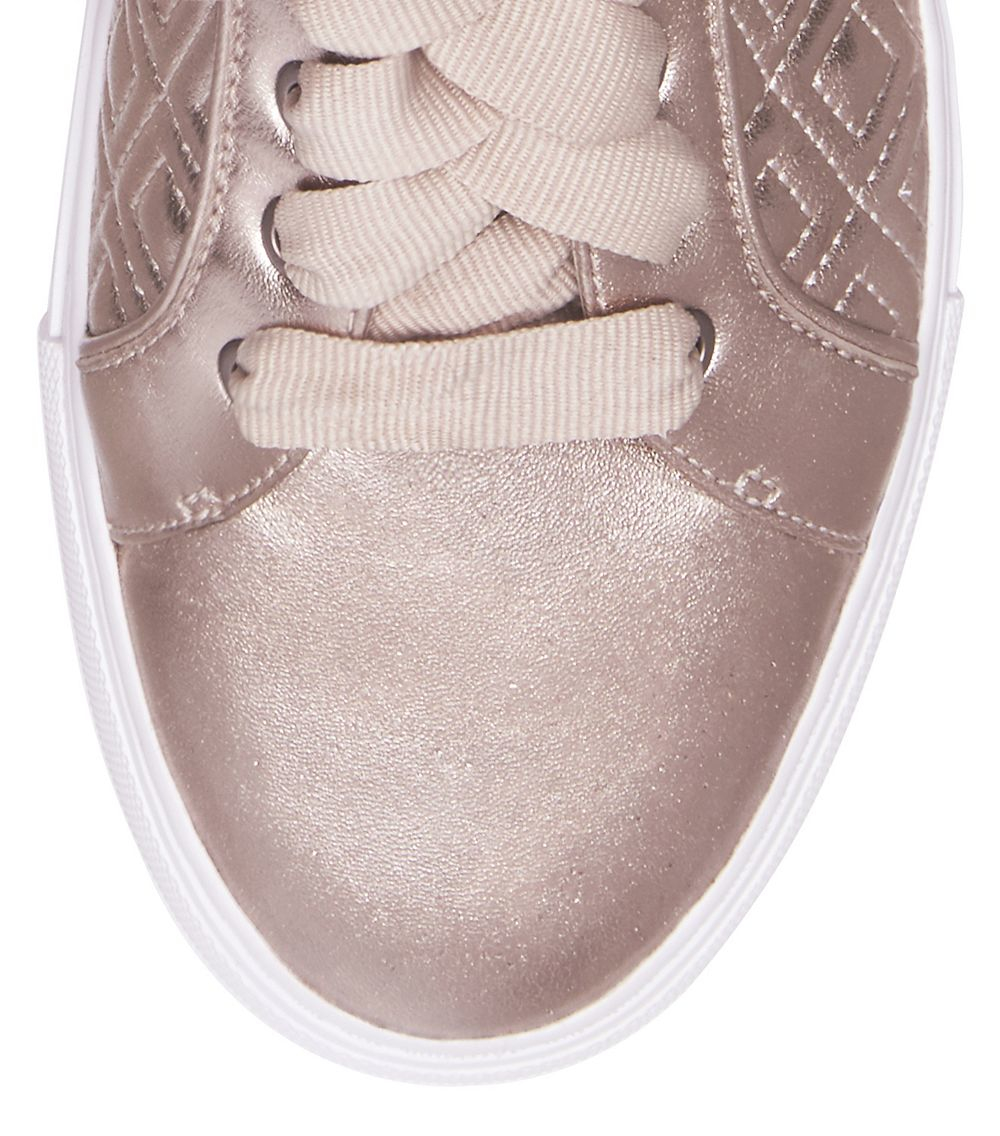 Tory Burch Leather Marion Quilted Metallic Sneaker In Rose