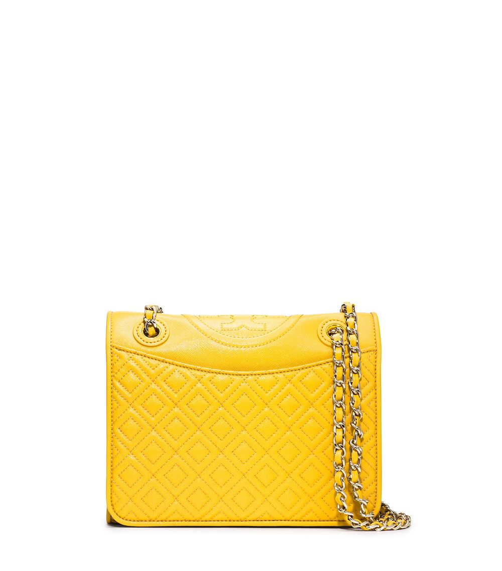 f9d122f856a2 Lyst - Tory Burch Fleming Patent Medium Bag in Yellow