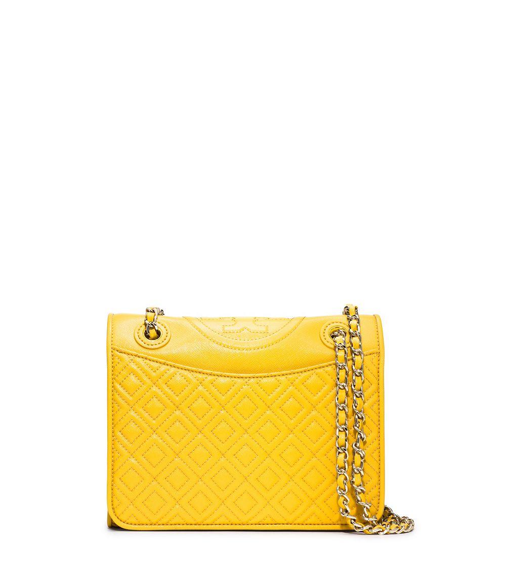 f9d122f856a2 Lyst - Tory Burch Fleming Patent Medium Bag in Yellow