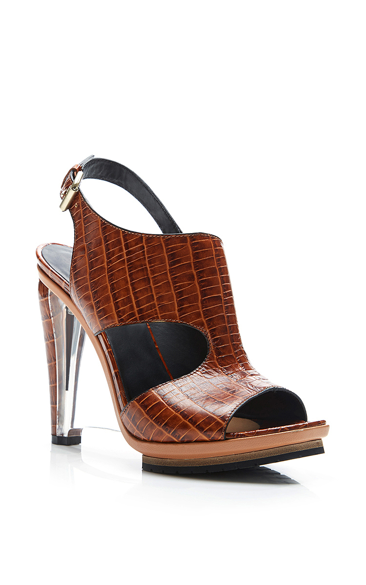 Rodarte Embossed Crocodile Leather Sandal With Clear