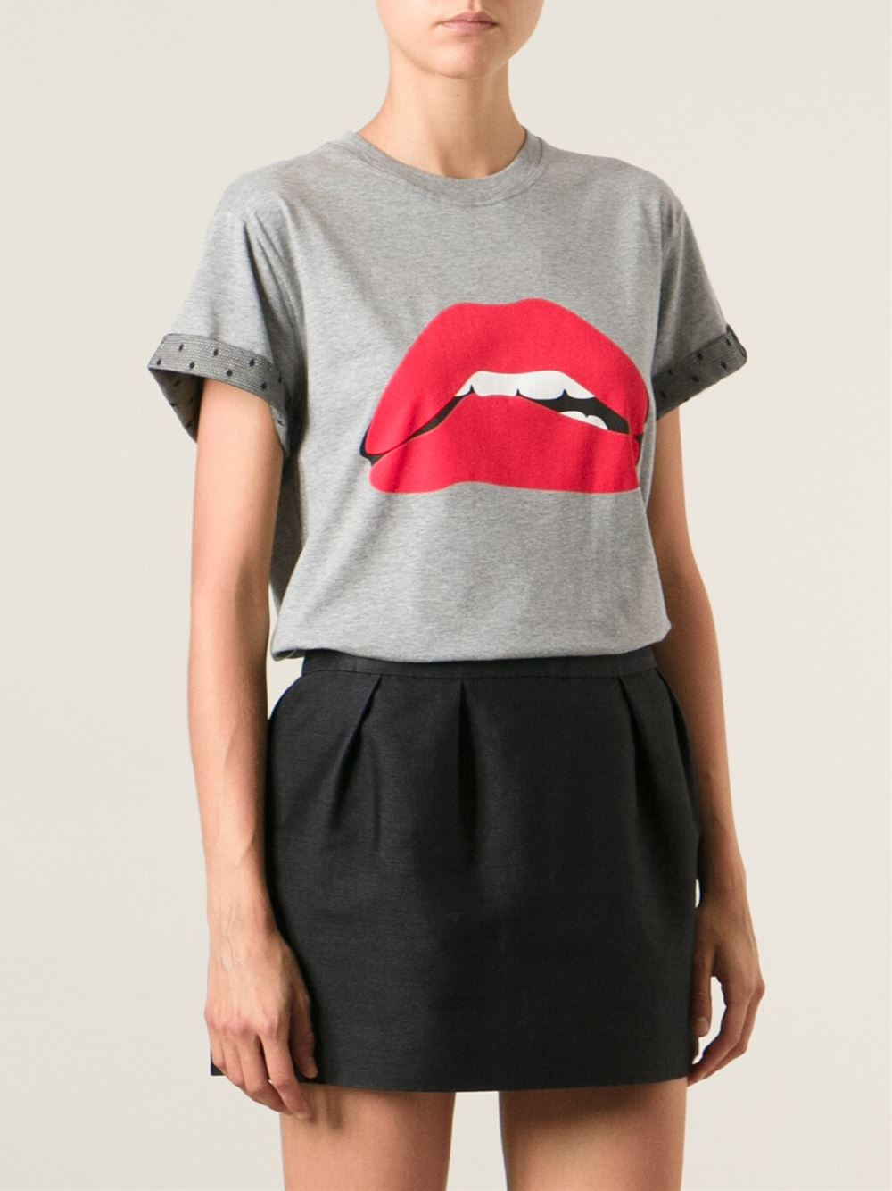 Lyst red valentino lips print t shirt in gray for Red valentino t shirt