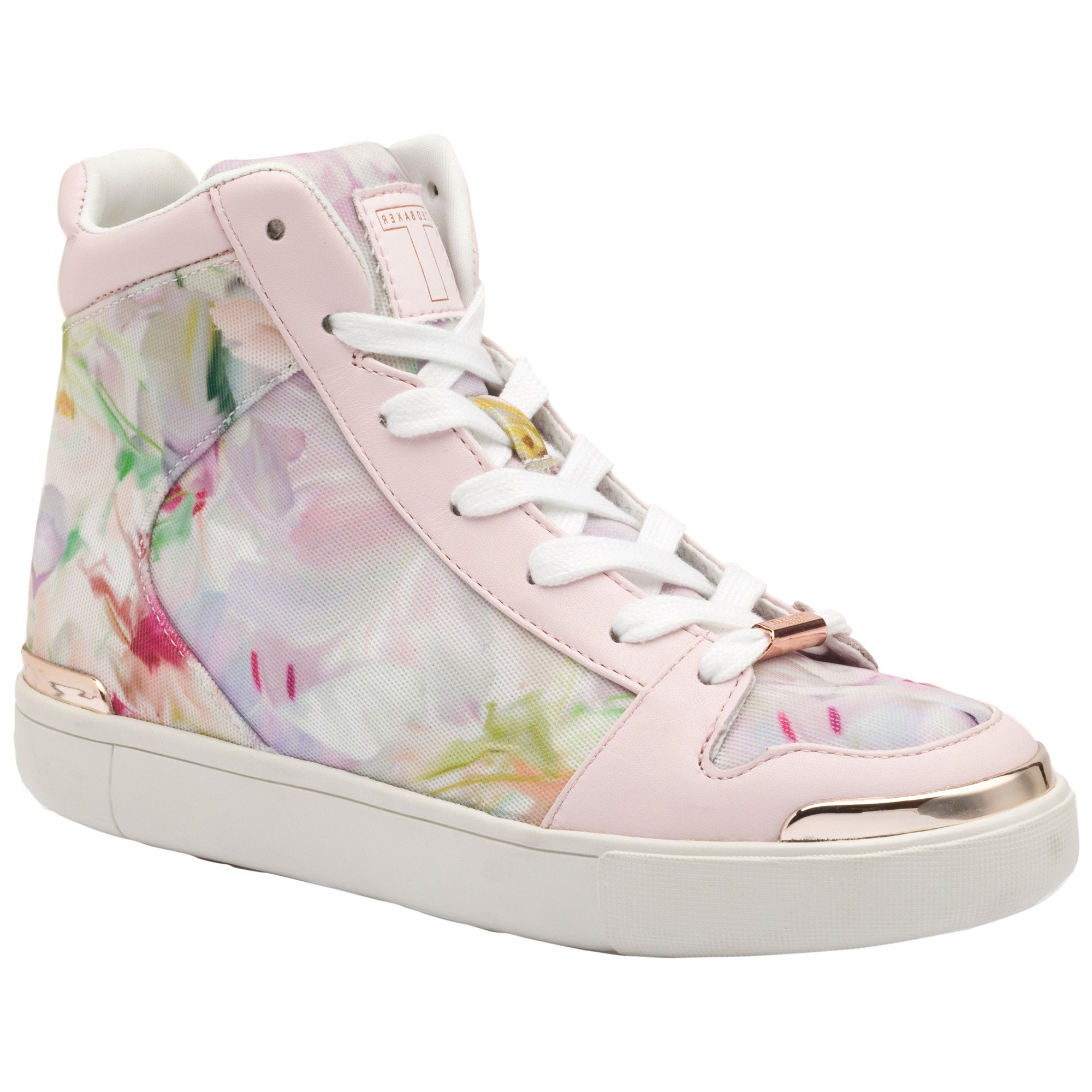 6796bd30e152 Ted Baker Paryna High Top Flat Trainers in Pink - Lyst