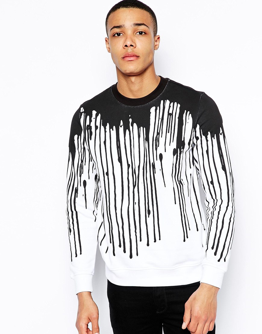 Drips White For Moschino Sweatshirt Lyst In With Print Love Men Nwmvn08O