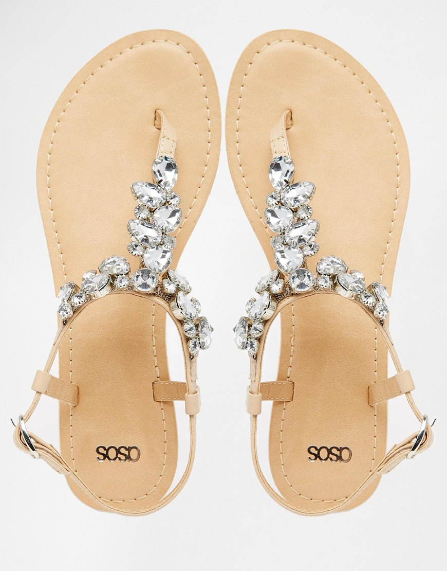 e3b00be3d Lyst - ASOS Fabby Embellished Leather Sandals in Natural