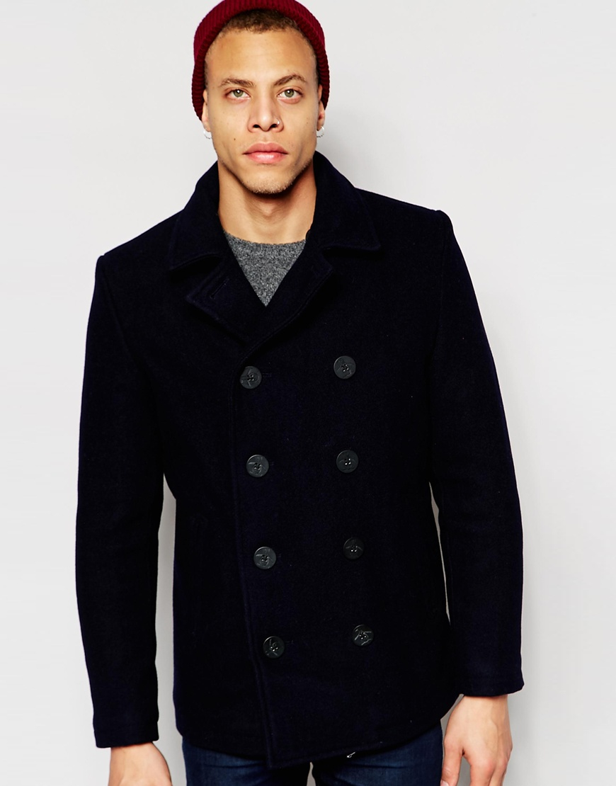 Original penguin 80% Wool Peacoat in Blue for Men | Lyst