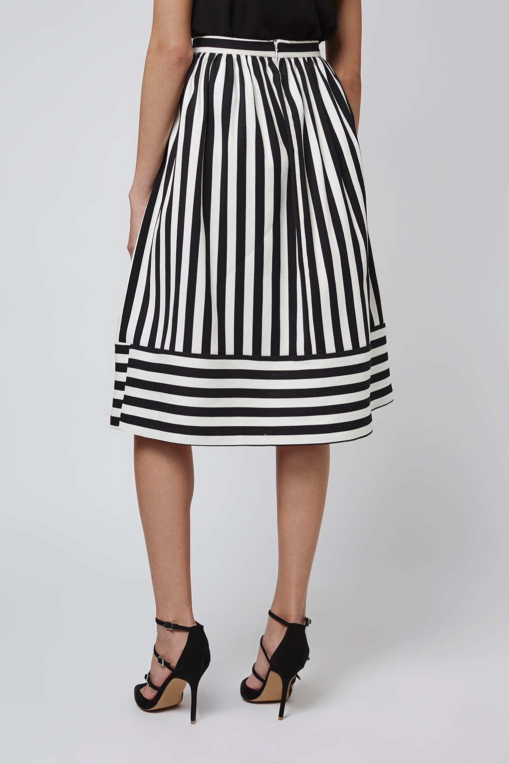 topshop cutabout stripe midi skirt in white lyst
