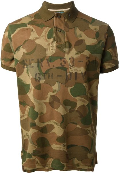 Polo ralph lauren camouflage polo shirt in green for men for Camo polo shirts for men