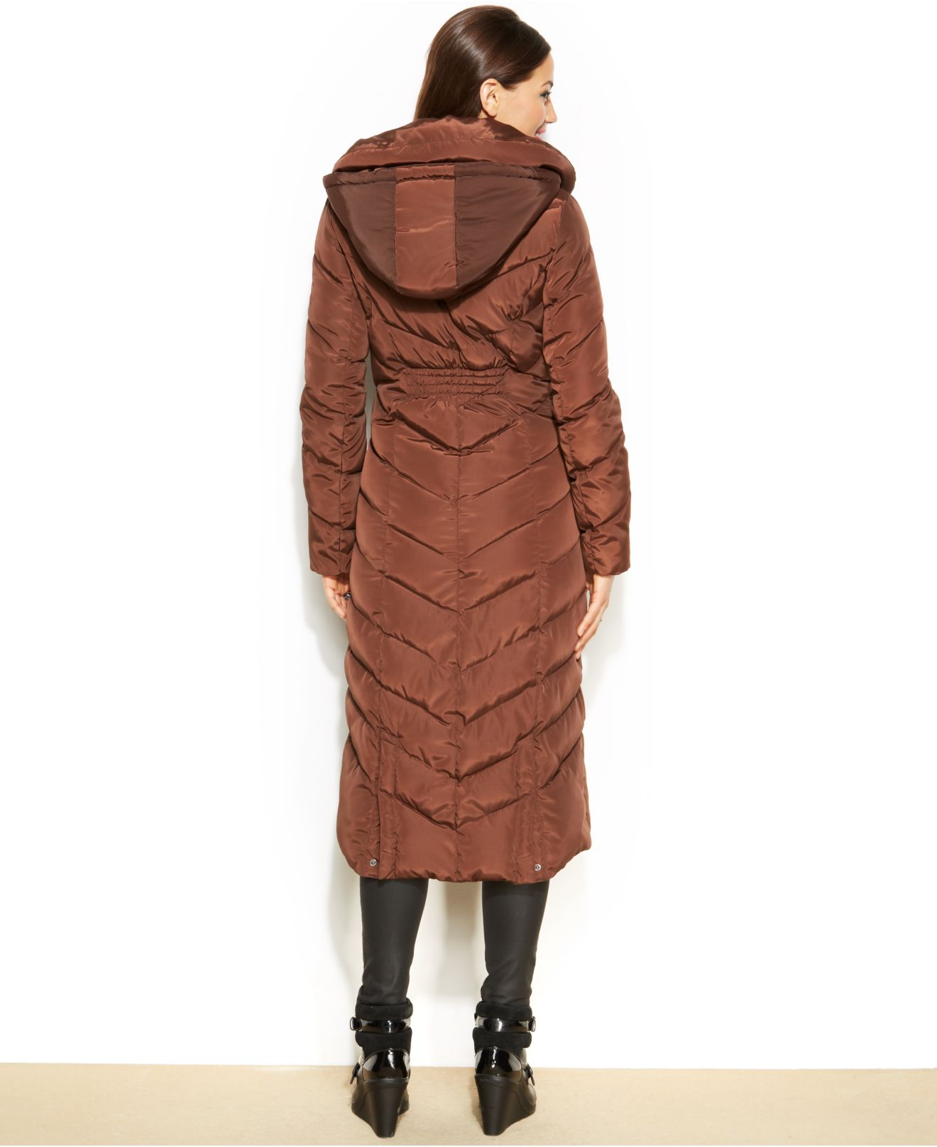 Steve Madden Hooded Maxi Puffer Coat in Chocolate (Brown ...