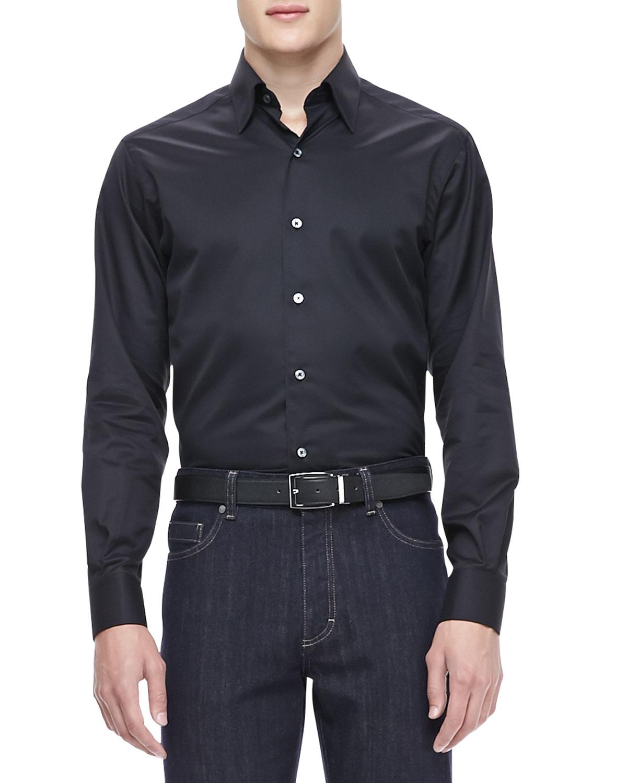 ermenegildo zegna 3 ply cotton shirt in black for men lyst. Black Bedroom Furniture Sets. Home Design Ideas