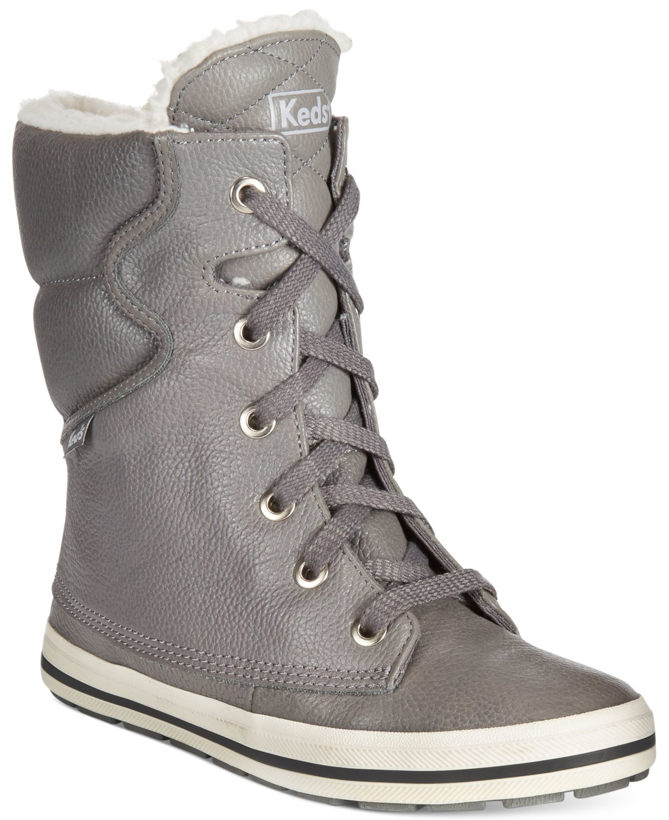 Droplet Faux-shearling Boots in Grey