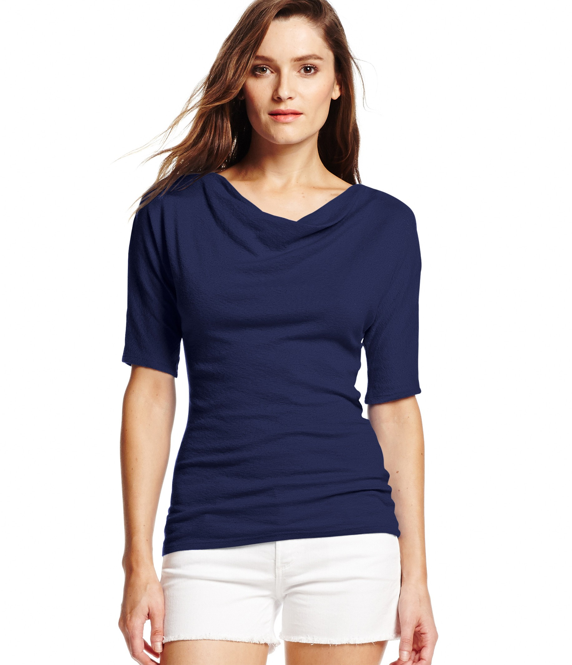 Michael stars shine 3 4 sleeve drape neck top in blue for Michael stars t shirts on sale