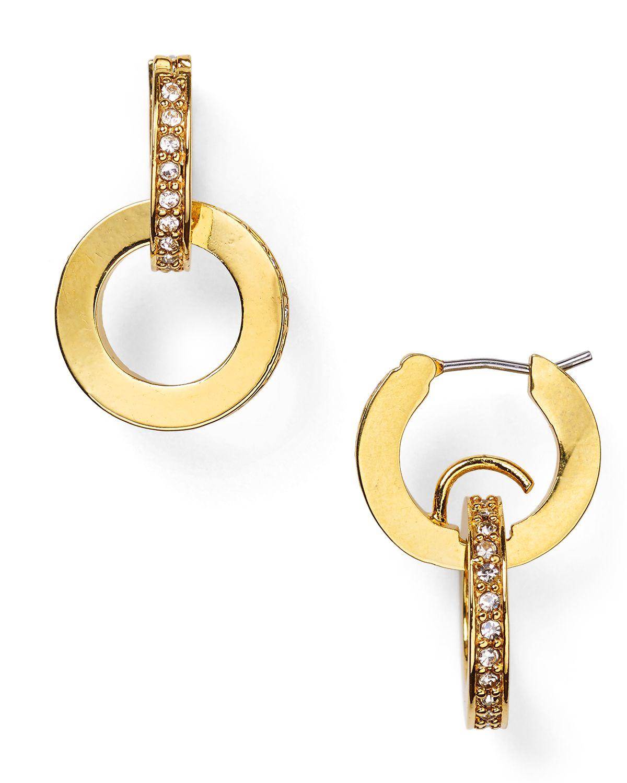 lyst kate spade new york double hoop drop earrings. Black Bedroom Furniture Sets. Home Design Ideas