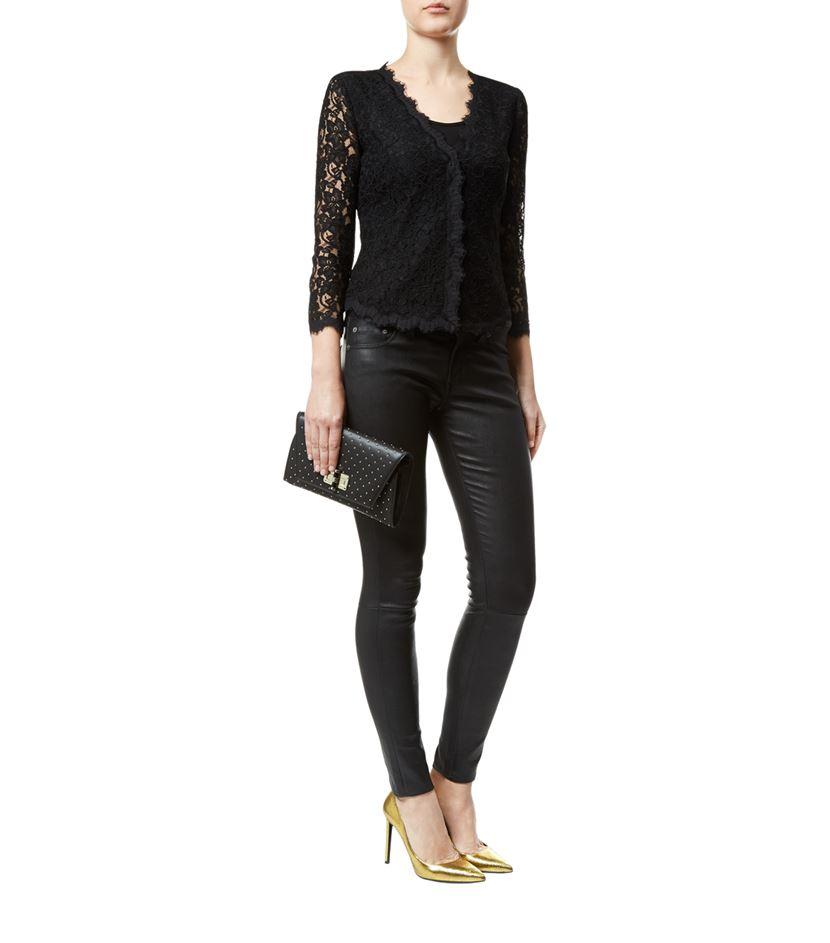 Diane von furstenberg Bria Lace Cardigan in Black | Lyst