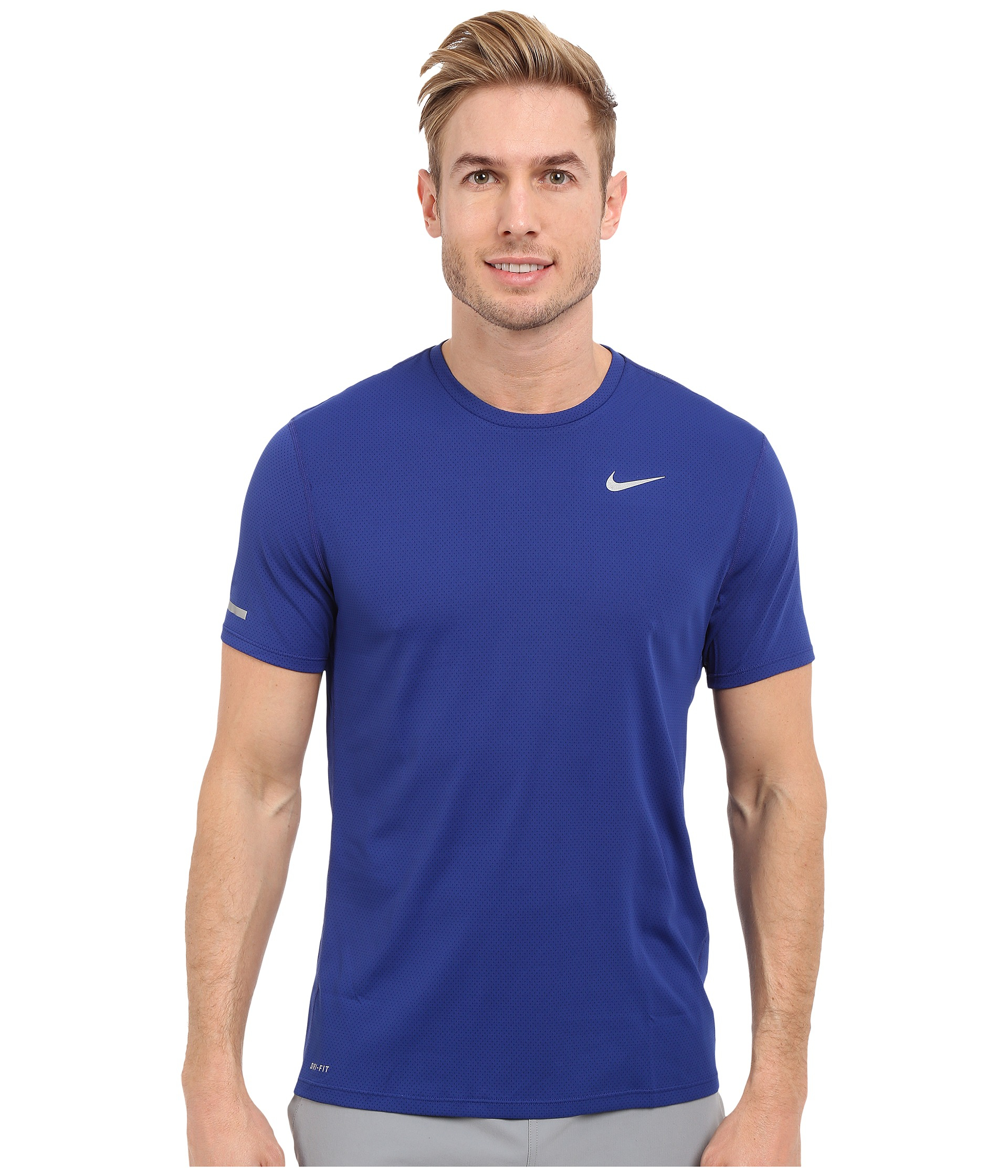 Nike dri fit contour s s running shirt in blue for men lyst for Running dri fit shirts