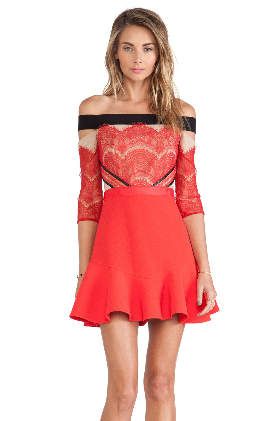 Three floor x revolve kloss up dress in red lyst for Three floor yellow dress