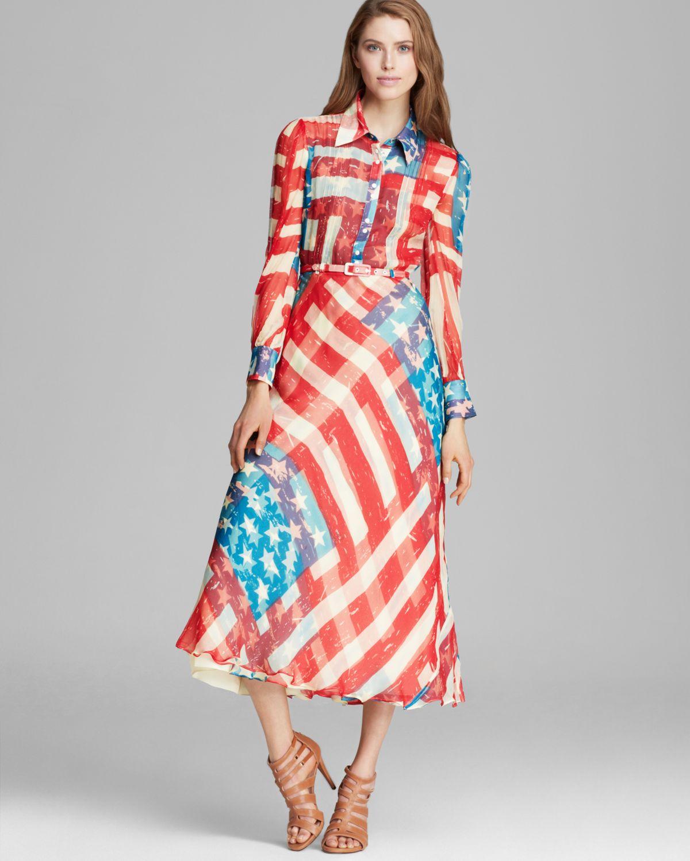 0f53b0940f5 Lyst Catherine Malandrino Maxi Dress Dom Flag Print In Red