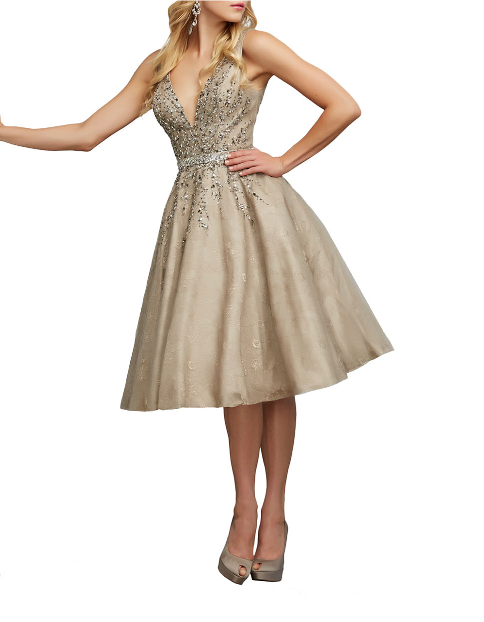 e22ea1702 Mac Duggal Beaded Lace Fit And Flare Dress in Brown - Lyst