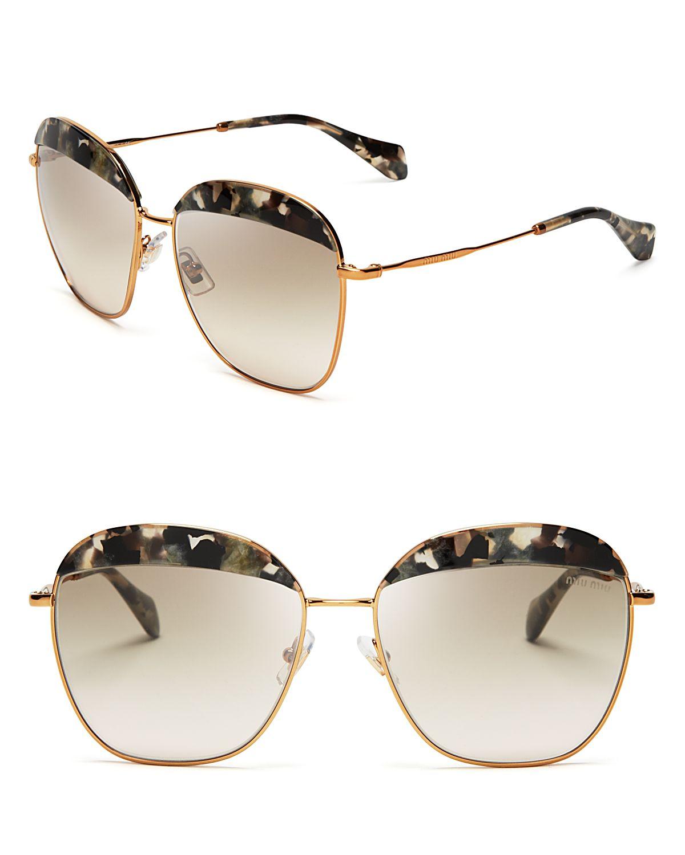 47e0cfeeb2b Lyst - Miu Miu Frame Evolution Oversized Sunglasses in Metallic