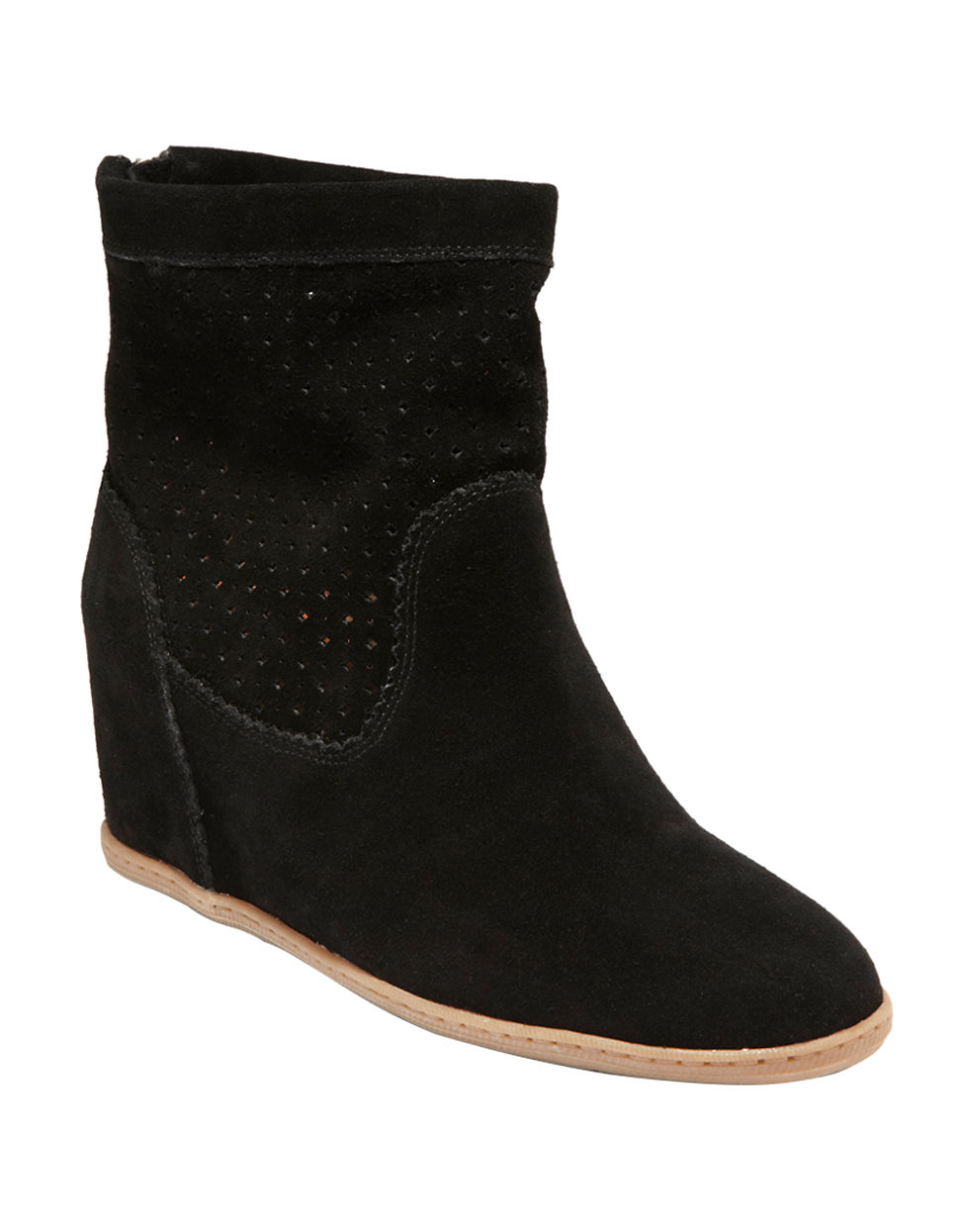 dolce vita krynn suede wedge boots in black lyst