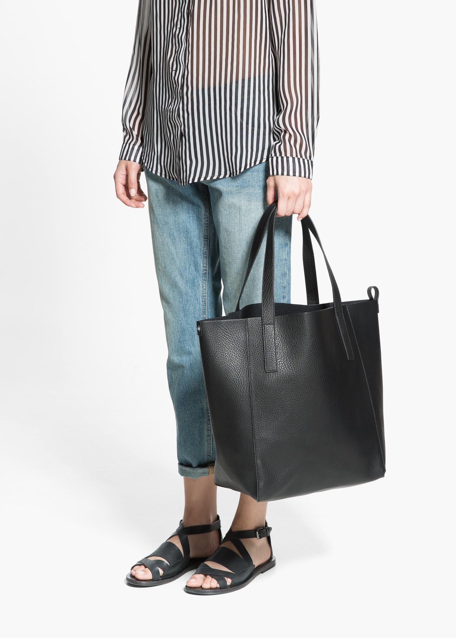 b7da5c3f87f5 Mango Faux-Leather Shopper Bag in Black - Lyst