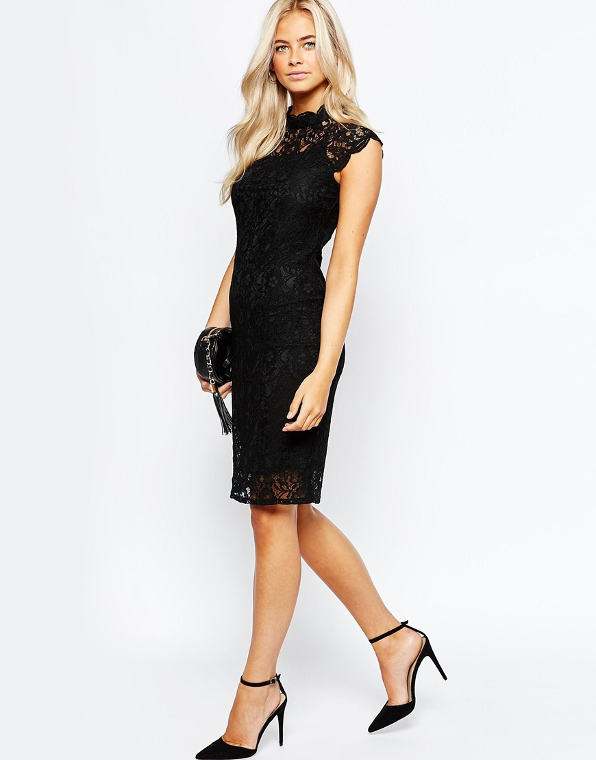 High Neck Lace Dress - Black Oasis 0ujcWikO