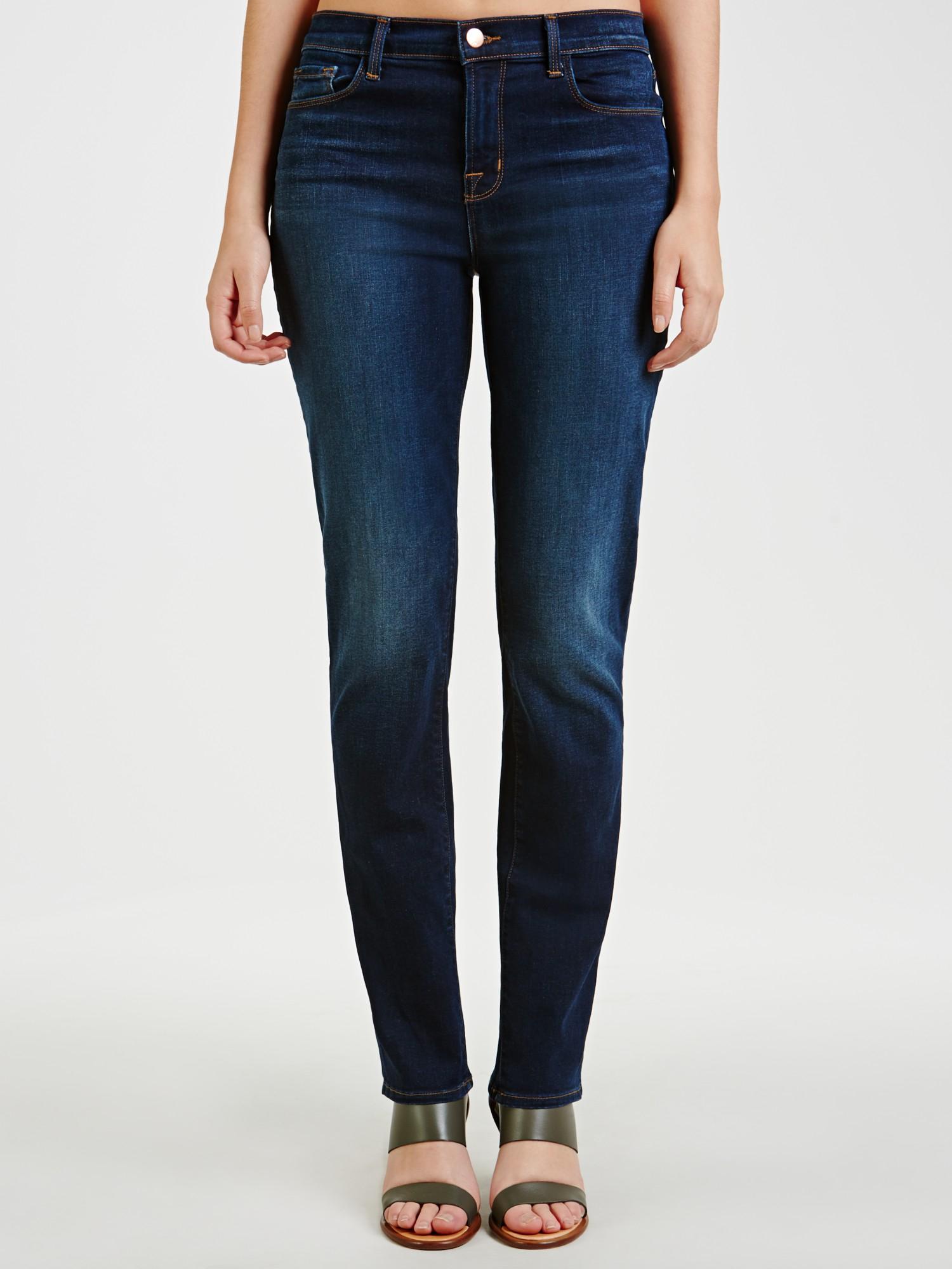 J Brand Denim Straight Leg Jeans in Blue