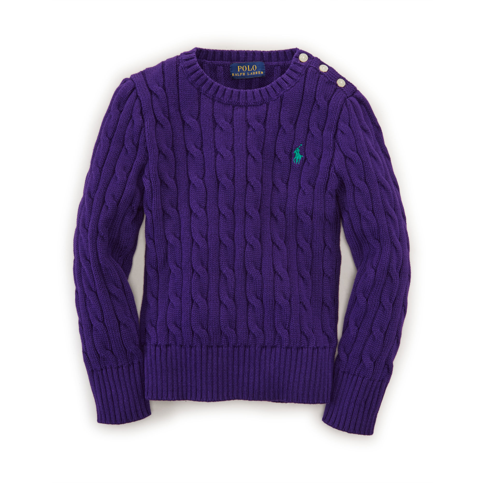 Ralph lauren Cable-knit Cotton Sweater in Purple | Lyst