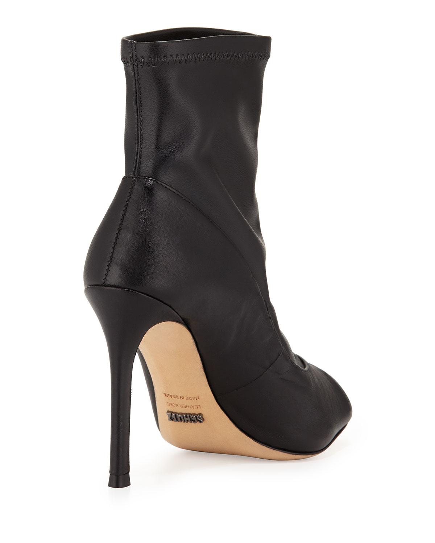 Lyst - Schutz Nichole Peep-toe Leather Bootie in Black
