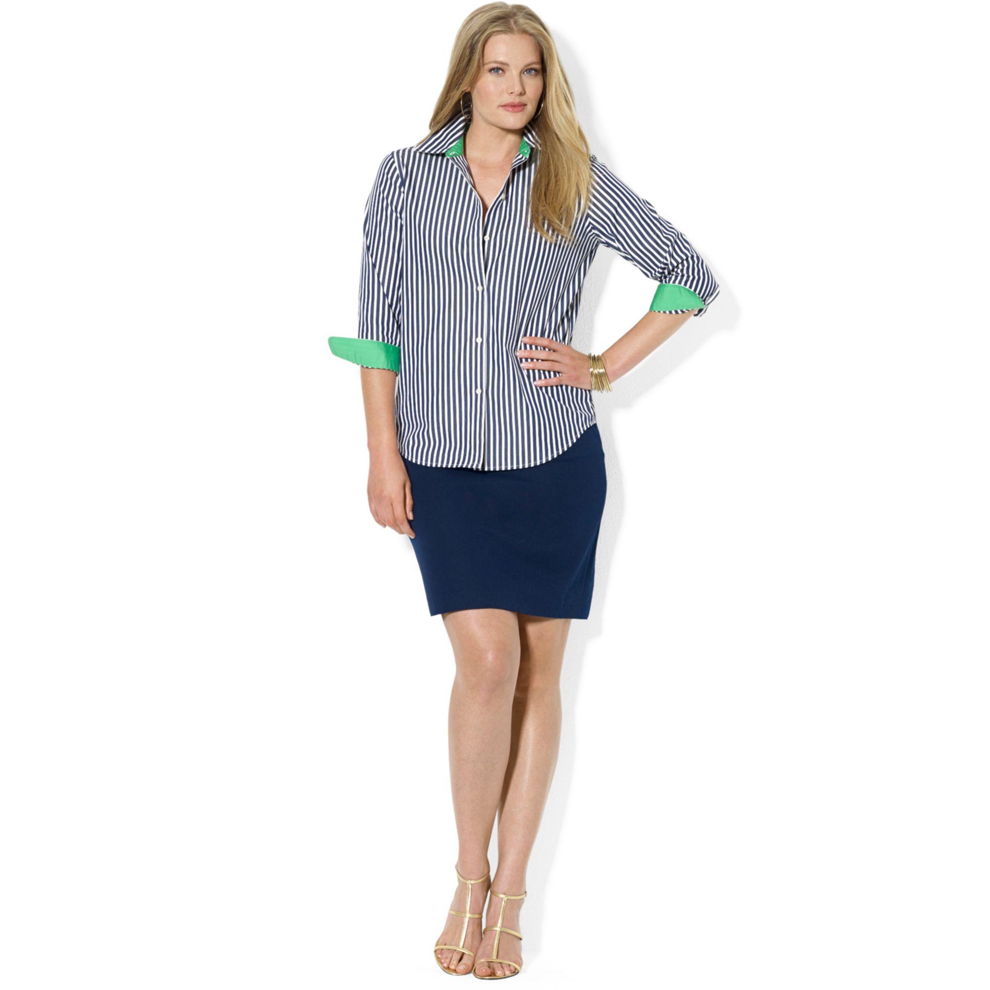 Lyst Lauren By Ralph Lauren Plus Size Three Quarter Sleeve Striped