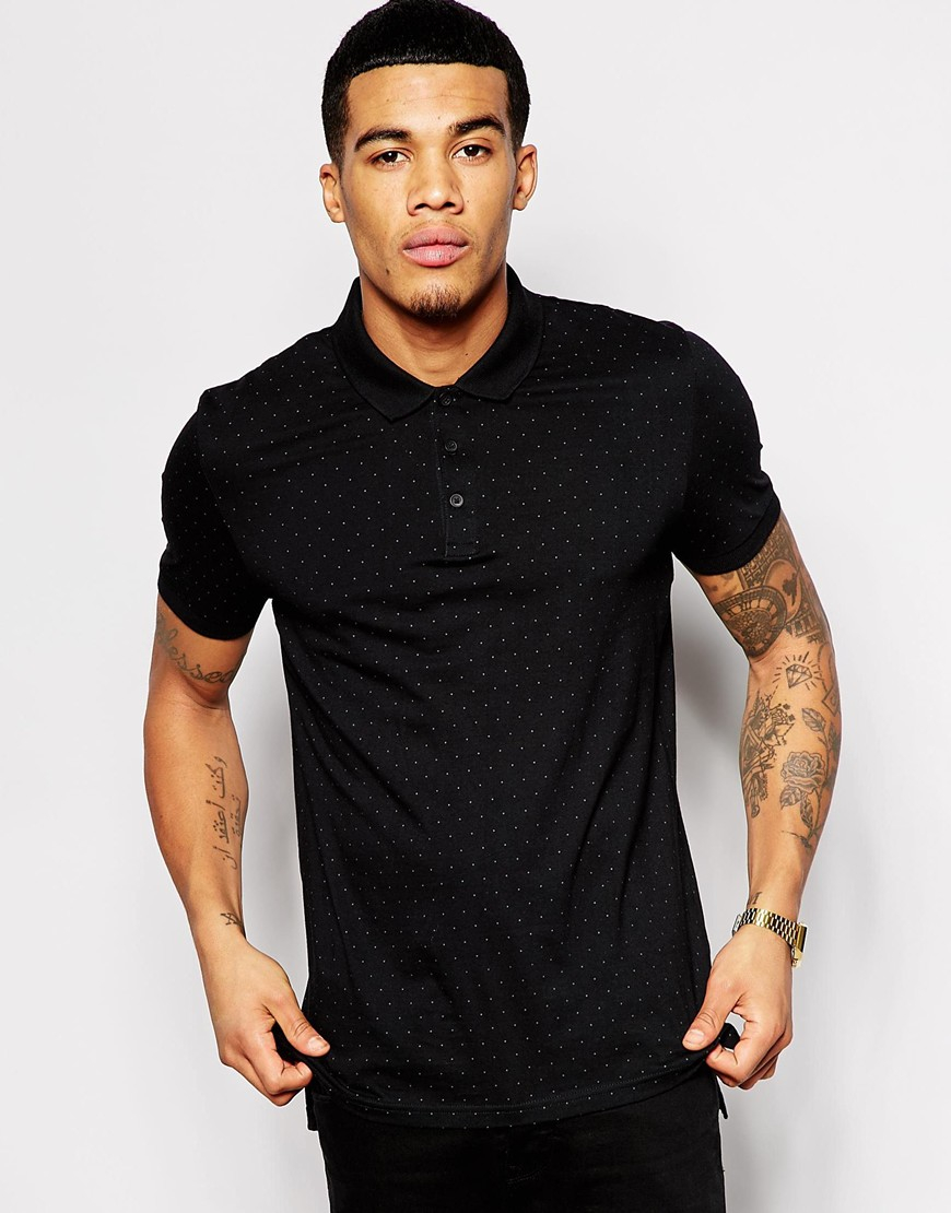 asos longline polo shirt with polka dot print in black for men lyst. Black Bedroom Furniture Sets. Home Design Ideas