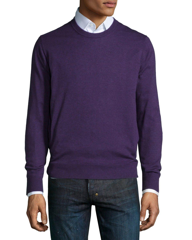 neiman cotton blend crewneck sweater in purple for