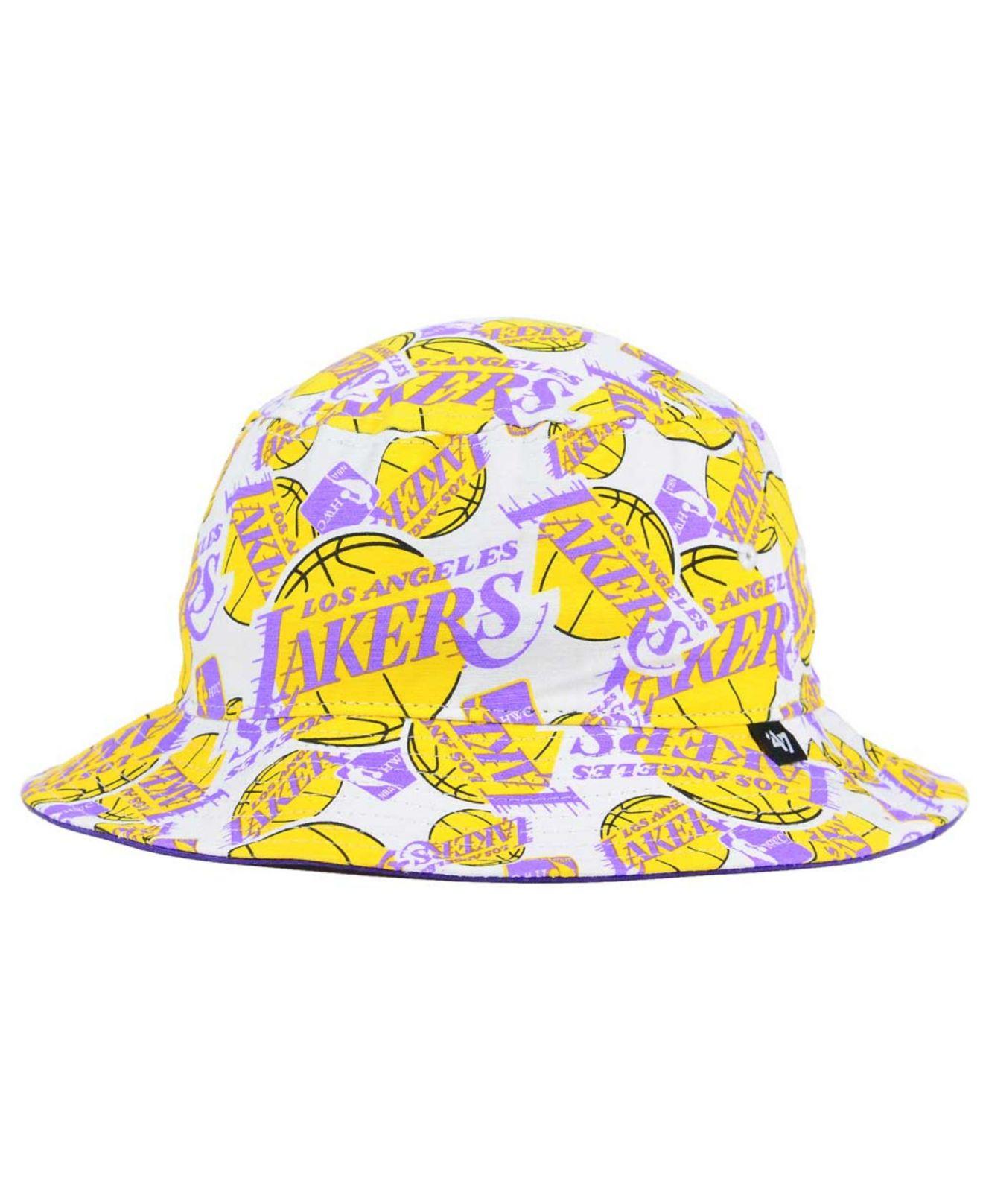 47 Brand Yellow Los Angeles Lakers Bravado Bucket Hat for men