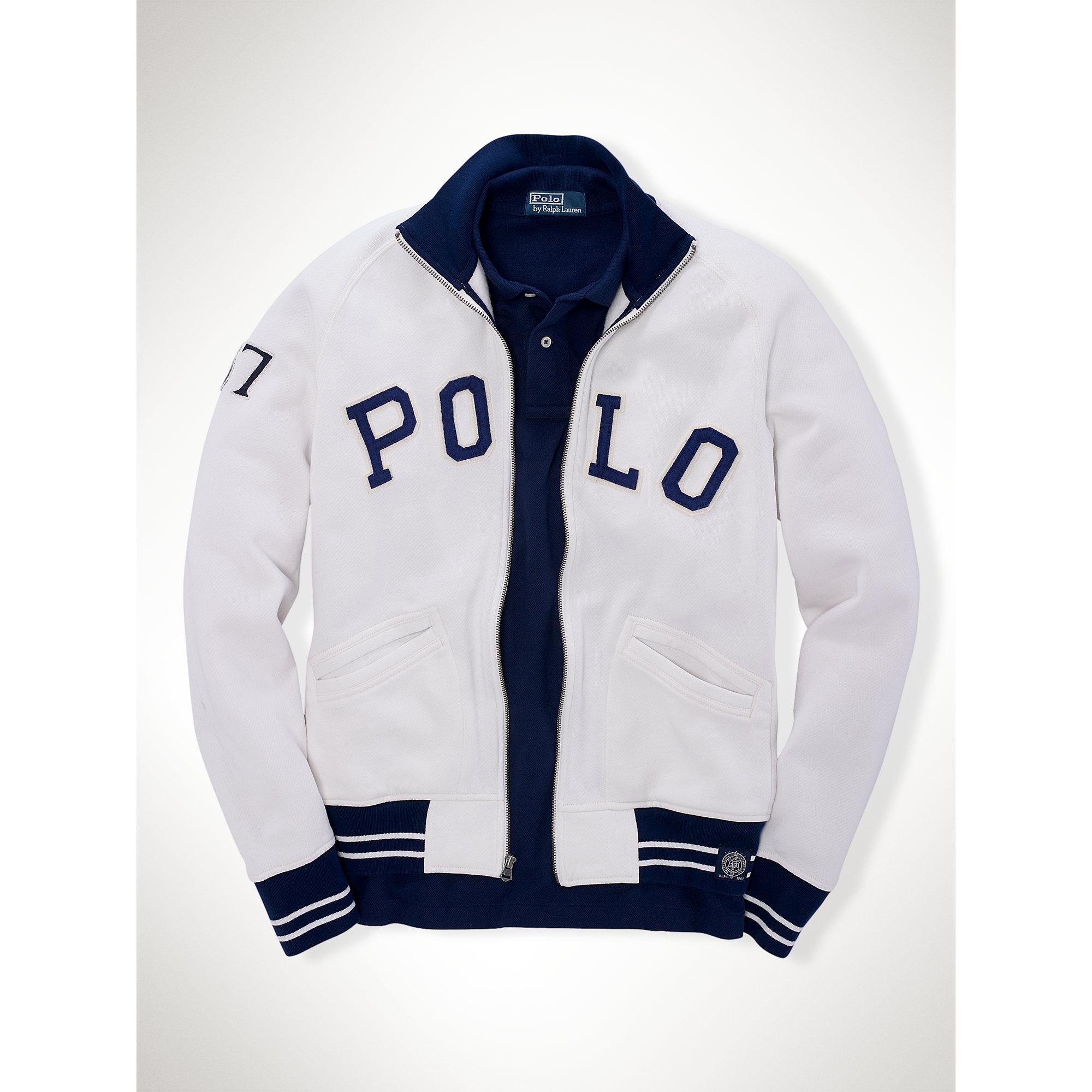 Polo ralph lauren Fleece Baseball Jacket in White for Men | Lyst
