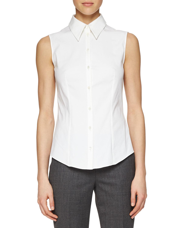 michael kors sleeveless poplin button blouse in white lyst. Black Bedroom Furniture Sets. Home Design Ideas