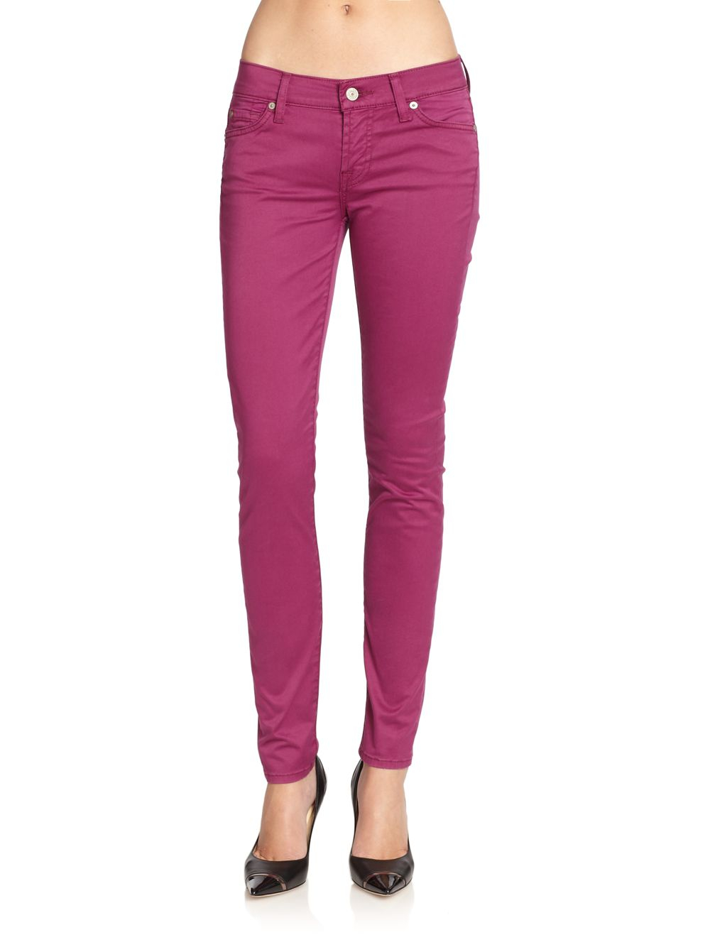 7 For All Mankind Gwenevere Colored Skinny Jeans in Purple ...