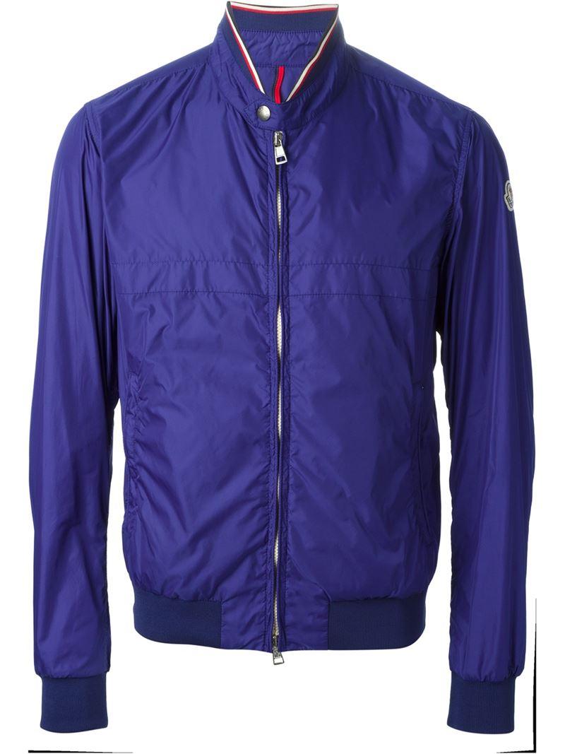 Moncler Lightweight Bomber Jacket in Blue for Men