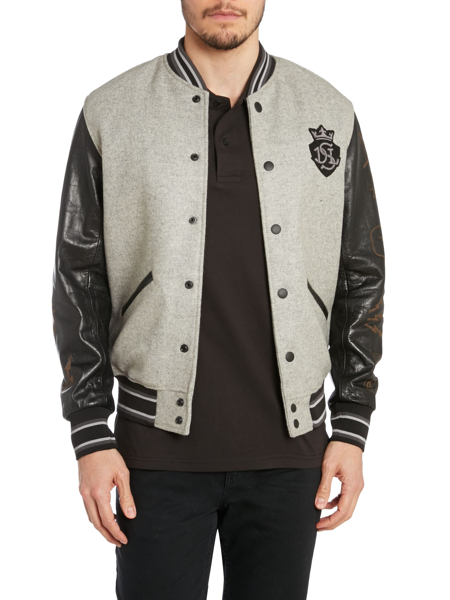 Diesel Leather Sleeve Baseball Jacket In Gray For Men (Grey) | Lyst